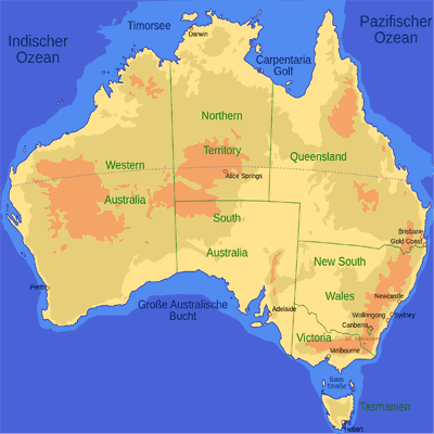 Map showing states of Australia