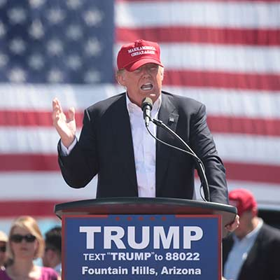 Donald Trump speaking at a rally in Fountain Hills, Arizona
