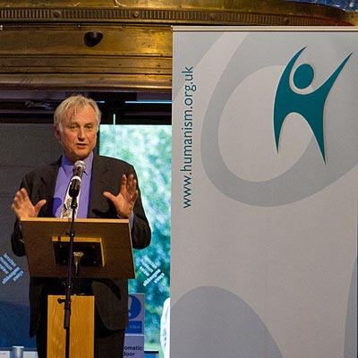 Photo of Richard Dawkins accepting Services to Humanism award 2012 at British Humanist Association Annual Conference