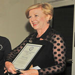 Photo of Professor Gillian Triggs receiving Australian Humanist of the Year 2018 award