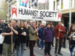 Photo of humanists at World Refugee Day march in Melbourne
