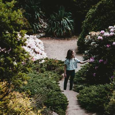 Photo of girl picking flower in garden