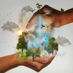 Image of two hands enclosing earth's ecology