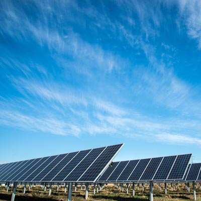 Photo of array of solar panels in Lincoln Nebraska, United States