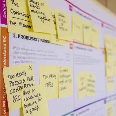 Photo of yellow sticky notes stuck to planner board